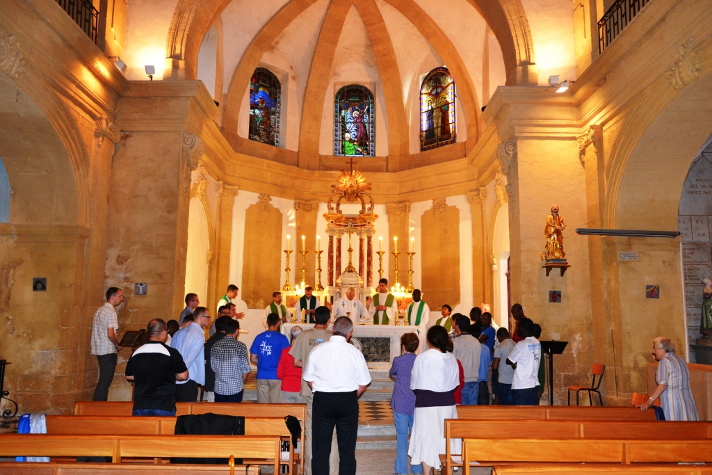 Oblates' Scholastics during Mass in Grans in July 2014